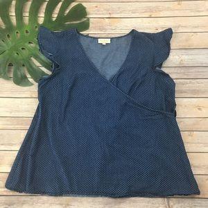 Modcloth blue chambray polka dot wrap top